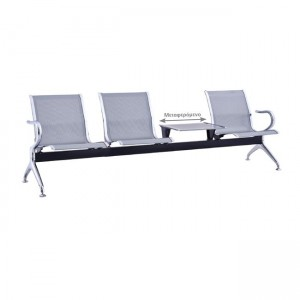 Κάθισμα αναμονής 3 ατόμων με σκελετό χρώμιο και μεταφερόμενο τραπεζάκι