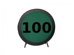 Πτυσσόμενο τραπέζι Poker με επιφάνεια τσόχας και τεχνόδερμα PU περιμετρικά διάσταση Ø100cm
